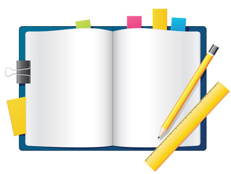 yellow notebook: Blank open notebook with pencil and ruler