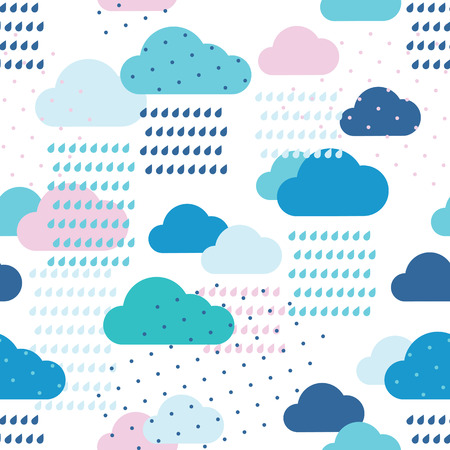 Rain seamless pattern with drops and clouds Ilustração