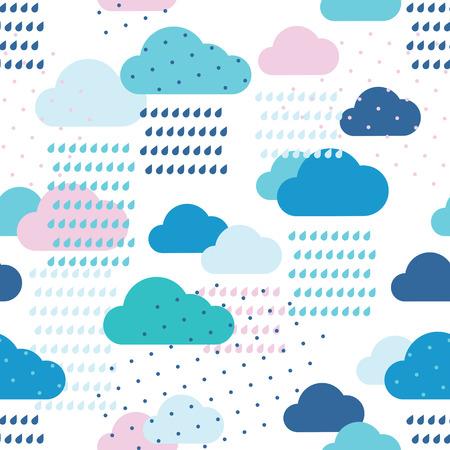 Regen naadloos patroon met dalingen en wolken
