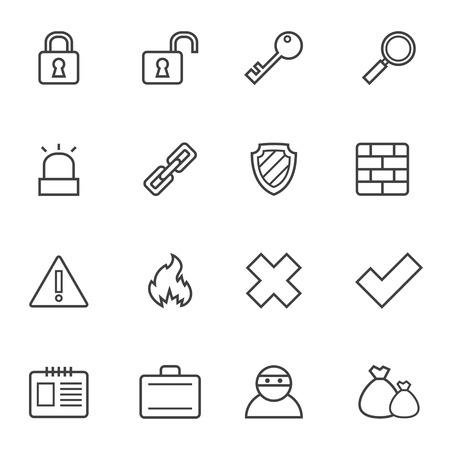 the contour: Set of simple contour security icons