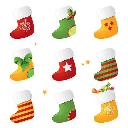 Christmas stocking set Vectores