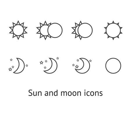 sol y luna: Conjunto de iconos del sol y de la luna Vectores