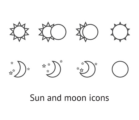 Set of sun and moon icons Illustration