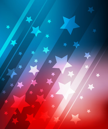 blue and white: Blue and red background with stars for 4th july