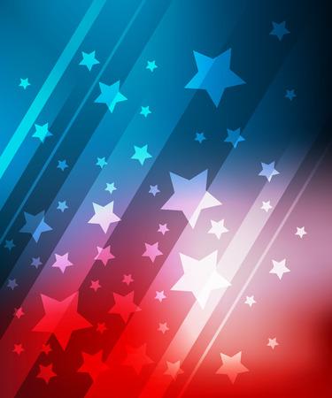 julio: Fondo azul y rojo con estrellas de 04 de julio Vectores