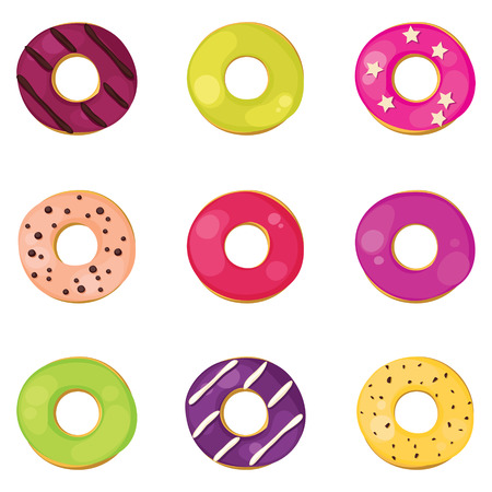topping: Set of donuts with different topping Illustration