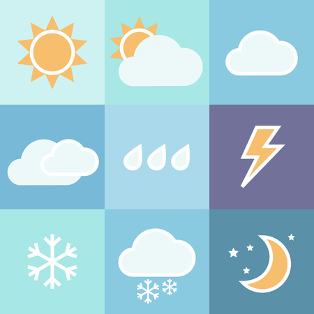 rainy season: Colorful weather icons set for mobile app