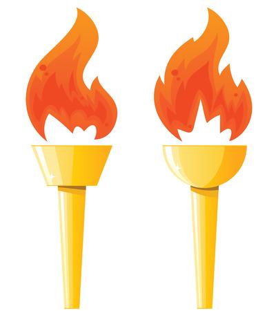 Twee fakkels met vlammen Stock Illustratie