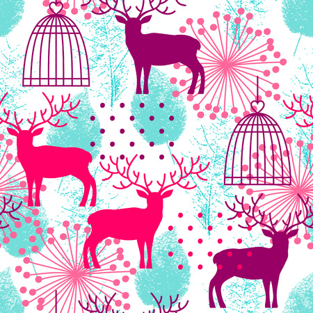 tracing: Seamless background with deer, cage and tracing leaves