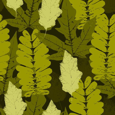 leaf pattern: Green leaves military seamless pattern Illustration