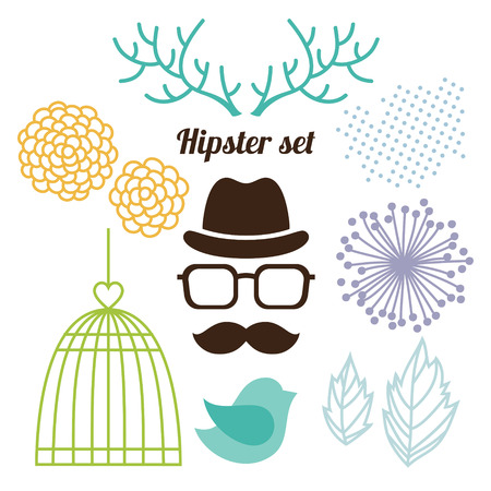 Hipster set with men face, cage, horns and flowers Vector