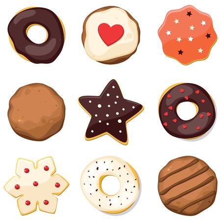 chocolate cookie: Conjunto dulce con donas y galletas diferentes.