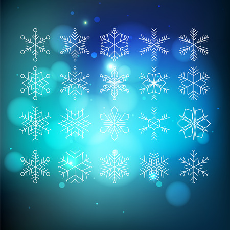 snowflake set: Big snowflake set on blue abctract background