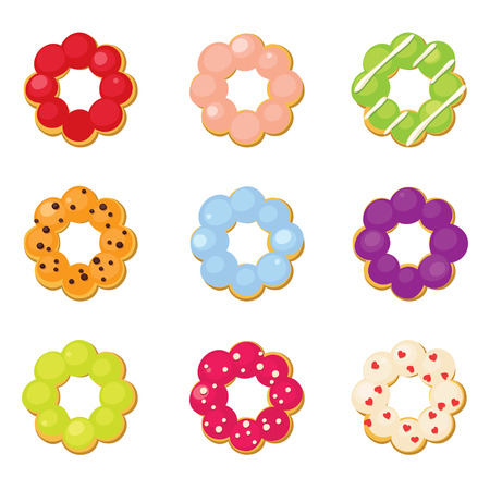 toppings: Ring donuts set with different toppings Illustration