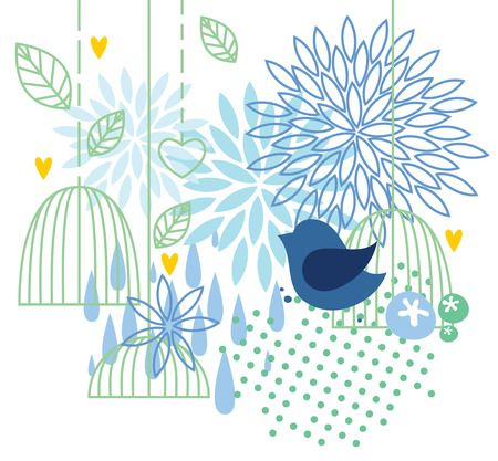 creative beauty: Floral background with bird and cages