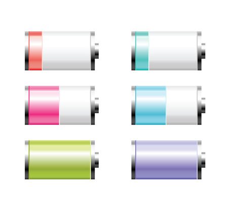 Set of colorful battery charge on white background Vector