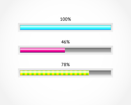 progress: Download progress bar vector set