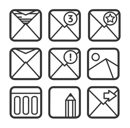 contour: Contour e-mail icons set Illustration
