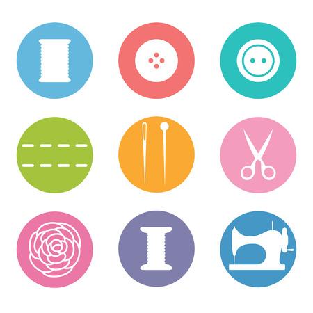 maquinas de coser: Coser conjunto de iconos de estilo plano Vectores