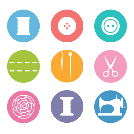 Sew icon set in flat style