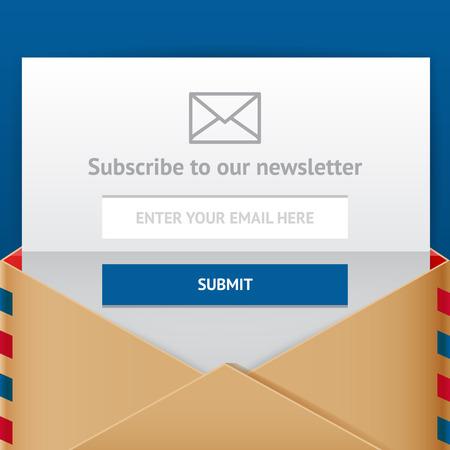 correo electronico: Suscríbete formulario web, illulstration estilo plano vectorial