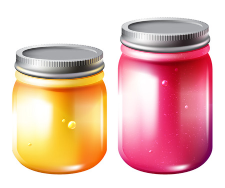raspberry pink: Glass jar with jam, vector bright isolated illustration of two jars with pink raspberry and yellow jam