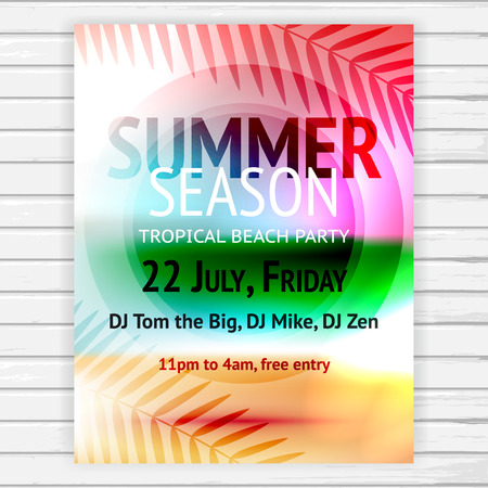 palmtree: Tropical summer party flyer, vector banner template with abstract bright background, text and decoration palm leaves