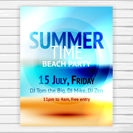 Summer time beach party flyer template, vector sea and sand vacation background with text