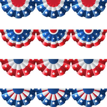 Amerikaanse vlag round bunting decoratie, geïsoleerde vector set voor de Amerikaanse viering van de onafhankelijkheidsdag