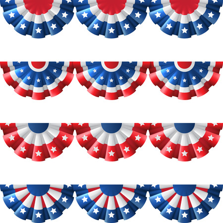 US flag round bunting decoration, isolated vector set for american Independence day celebration Vectores