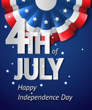 flag background: USA independence day vector blue card with bright bunting decoration ribbon, 4th of july poster