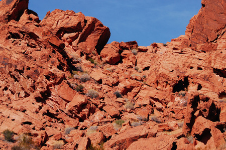 Red sandstone rock formations with blue sky, Valley of Fire State park, Nevada Stok Fotoğraf