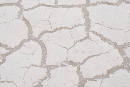 White dried and cracked land, desert background