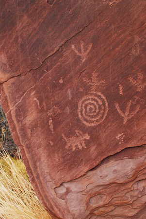 Petroglyphs carved on the rock, Native Americans in Zion National Park, Utah, USA Stock Photo