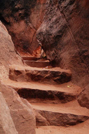 Stone stairs, hiking up in Zion National Park, Utah, USA
