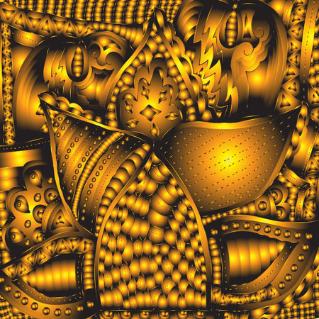 euphoria: Abstract pattern, hand-drawn, circles, lines, waves, in gold color