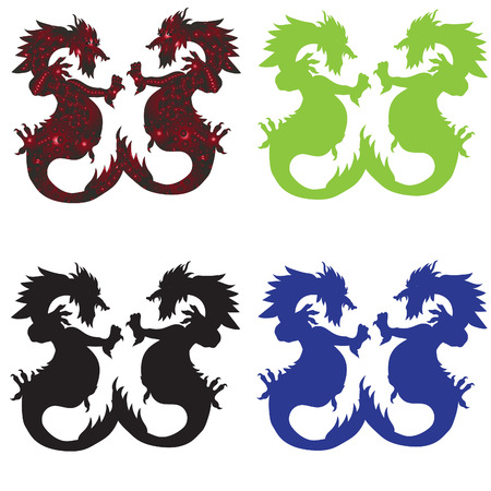 dragon drawn by hand, four color options
