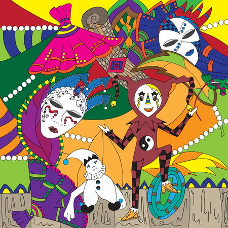 harlequin clown in disguise: Festive masquerade.Vector illustration, colorful, hand-drawn