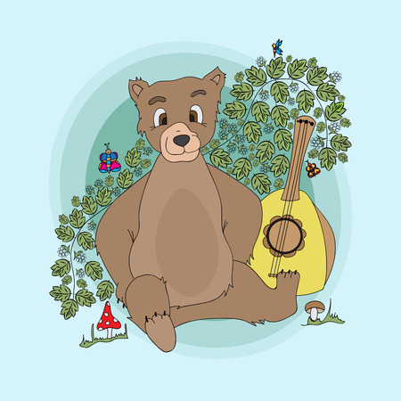 Bear with a balalaika in the bushes of raspberries.Vector illustration, colorful, hand-drawn Illustration