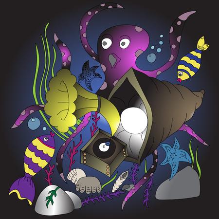 Gramófono y vida marina. Ilustración de vector, colorido, dibujado a mano