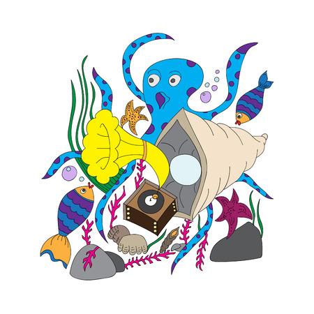 Ilustración vectorial, colorido, dibujado a mano