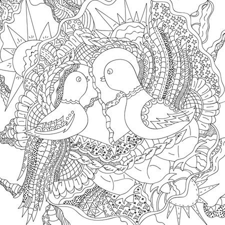 natural phenomenon: Magic birds.Vector illustration drawn by hand, black contour on a white background
