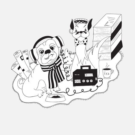 wire: Cat and pug with radio.Vector illustration, black and white, hand-drawn