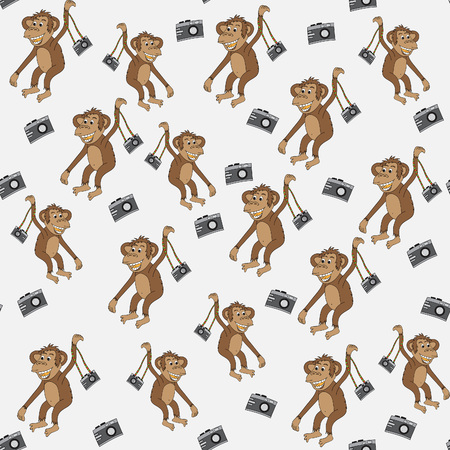 character traits: Monkey with camera.Seamless pattern, bright, hand-drawn