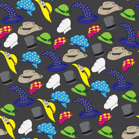felt: Personal hats.Seamless pattern, bright, hand-drawn