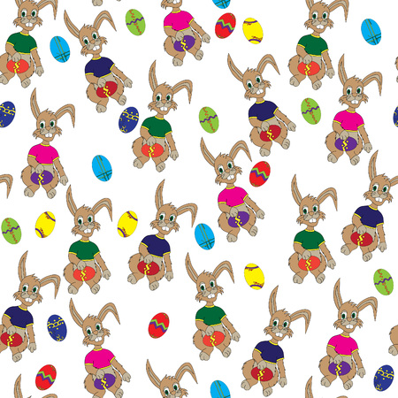 Easter Bunny.Seamless pattern, bright, hand-drawn