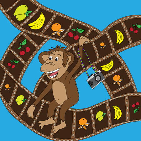 character traits: Monkey with camera.Vector illustration, bright, hand-drawn