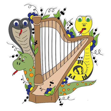 Harp and snakes.Vector illustration, bright, hand-drawn Illustration