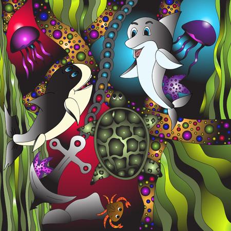 Marine life.Vector illustration, bright, hand-drawn