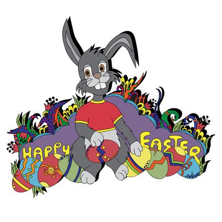 Easter Bunny.Vector illustration, bright, hand-drawn